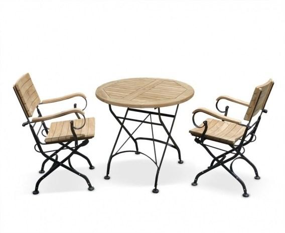 Bistro Round 08m Table 2 Armchairs Teak Metal Folding
