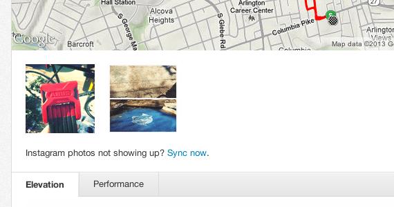 Screenshot of Instagram integrated into Strava.