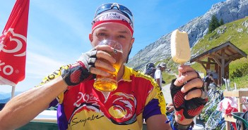 Beer and ice cream at Col de la Colombière