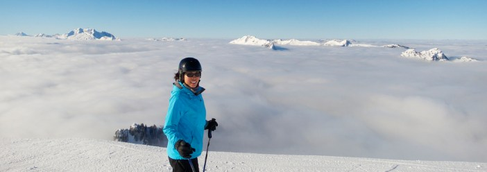 Doreen enjoying the views from Mont Lachat