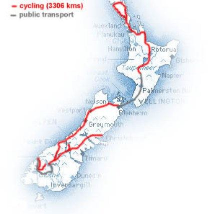 our route in New Zealnd