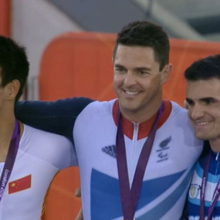 Mark on the podium celebrating gold