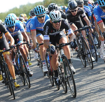 Tour of Britain - Mark Cavendish leads the pack. Image ©Tour of Britain / Sweetspot