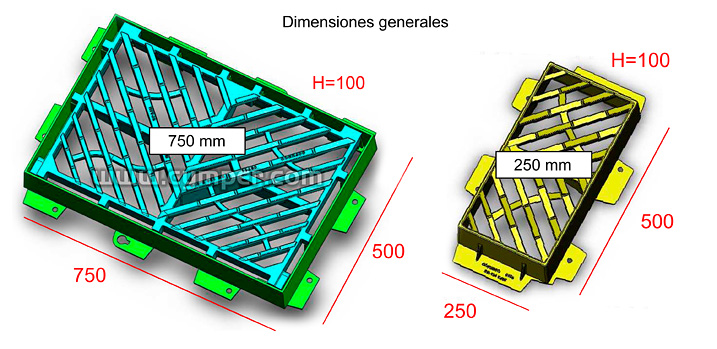Reja imbornal Maremagnum 750x500 Fundición Dúctil D400 - Dimensiones