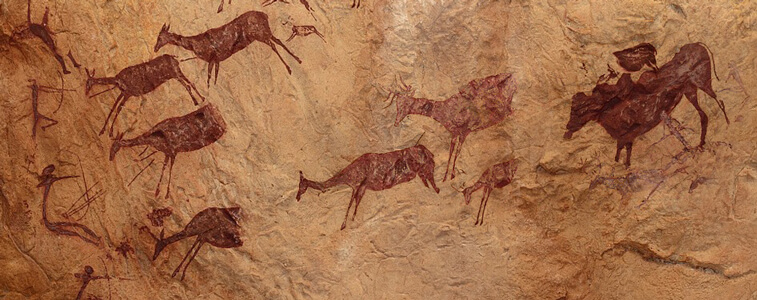 Pintura rupestre realizada a base de óxidos de hierro y ligantes de origen natural.