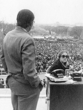 CBS News camera platform at the March Against the Vietnam War, April 1971