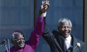Bishop Tutu (L) with Nelson Mandela