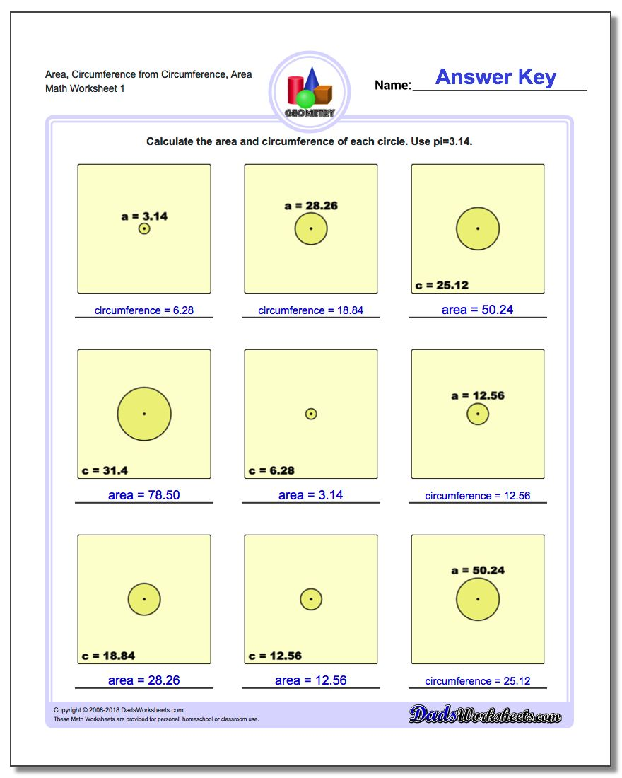 Find Area And Circumference Of Circle Area Circumference From Circumference  Area Basic Geometry Worksheet Download Find