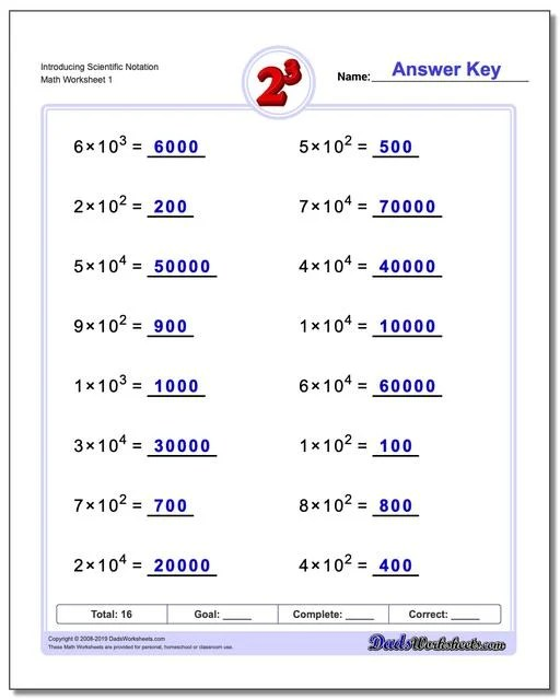 Powers of Ten and Scientific Notation