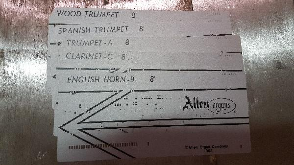 Allen Punch Cards \u2013 Reed Set 2 \u2013 RA Daffer Church Organs - punch cards