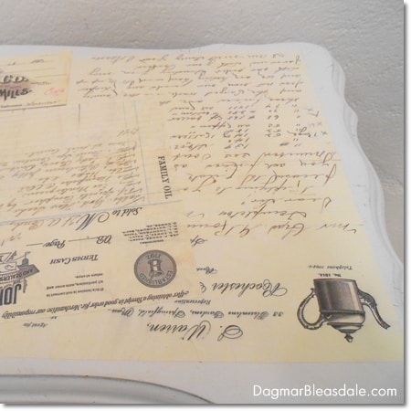DIY Mod Podge table with vintage letters