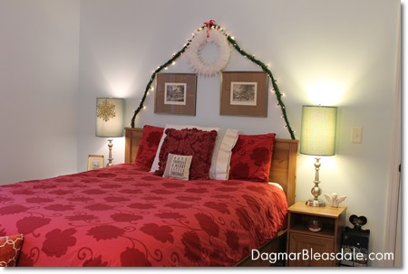 Christmas decorations in bedroom