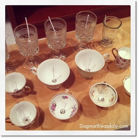 candle making with vintage glass and teacups