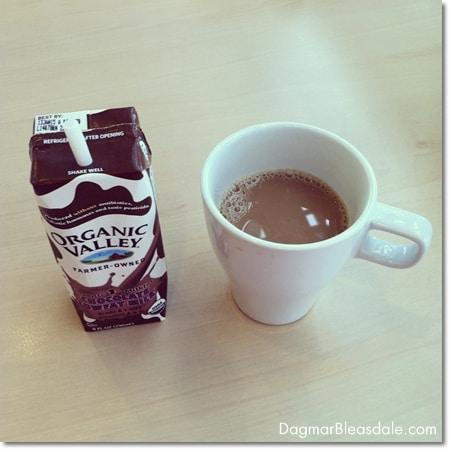 coffee and organic chocolate milk at Ikea