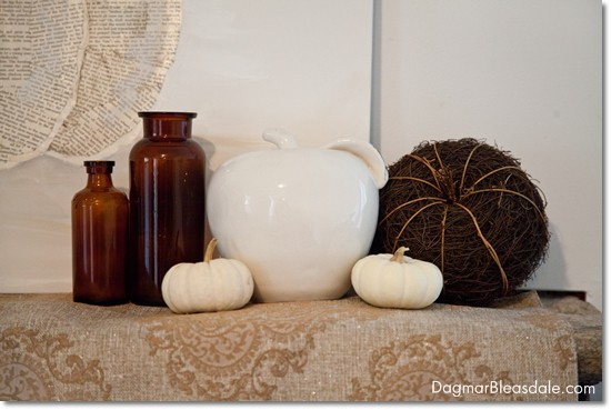 white  and brown fall mantel, DagmarBleasdale.com