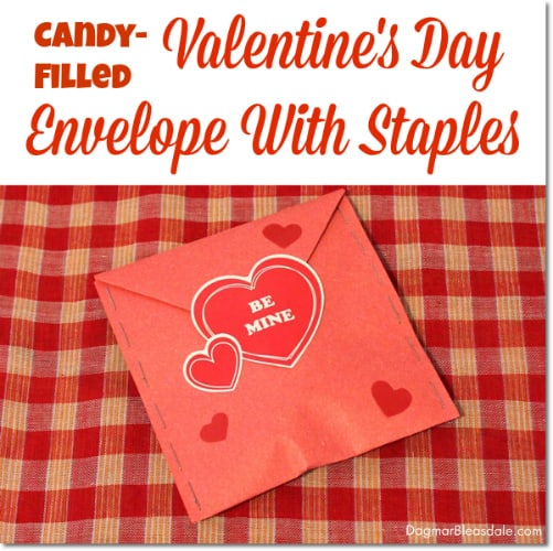 DIY Valentine's Day envelope with staples