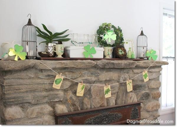 St. Patrick's Day mantel decor. DagmarBleasdale.com