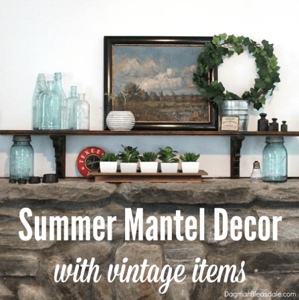 summer mantel decor, DagmarBleasdale.com