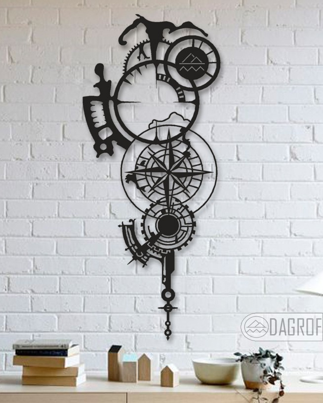 Compass Designed Mechanical Shaped Decorative Metal Table Wall Art