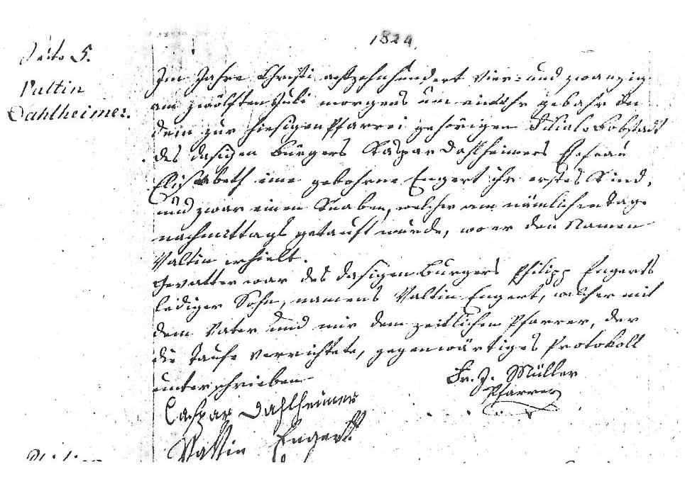 Birth of Valentin (Valentine) Dahlheimer in Germany - claim template letter