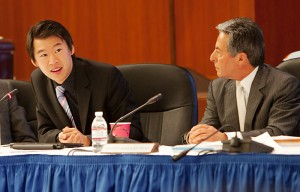 Jesse Cheng (left) at a UC Regents Meeting at UCSF Mission Bay on Thursday, November 18, 2010.