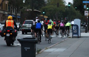 Riders head through Berkeley in the 27th annual Turkey Ride.
