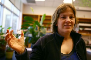 Cindy Looy, an assistant professor of integrative biology, shows off her work. Looy and other researchers found a microscopic fungi may have contributed to a mass extinction.