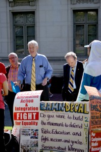 Chancellor Robert Birgeneau at a protest where demonstrators urged California government to complete the passage of the second half of the DREAM Act.