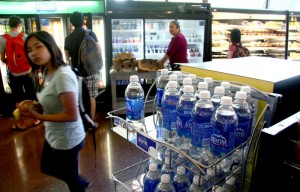 Plastic water bottles for sale at the Golden Bear.