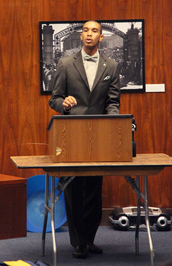 Salih Muhammad, chair of the campus Black Student Union, spoke at the ASUC emergency senate meeting on Sunday night.