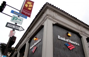 The Bank of America on the corner of Telegraph Avenue and Durant Avenue and its attached ATM are both frequented by UC Berkeley students.