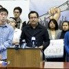 Mario Lopez (left) and CalSERVE senator Ju Hong (right) spoke at a press conference on Monday in support of Jerry Brown signing the DREAM Act.