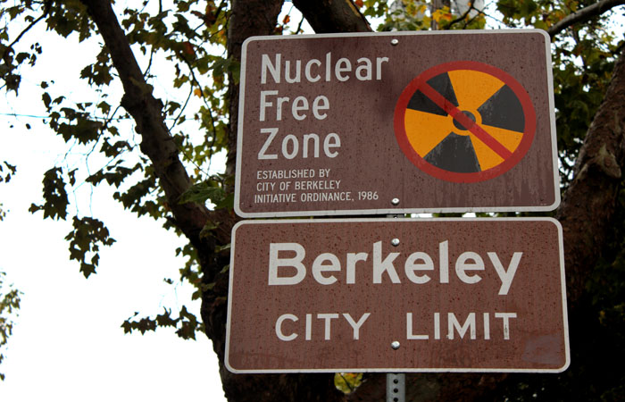 This sign on College Avenue indicates Berkeley's status as a nuclear free zone, which it has been since the 1980s.