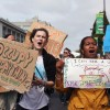 Occupy Berkeley protesters march along streets in Downtown Berkeley Saturday.