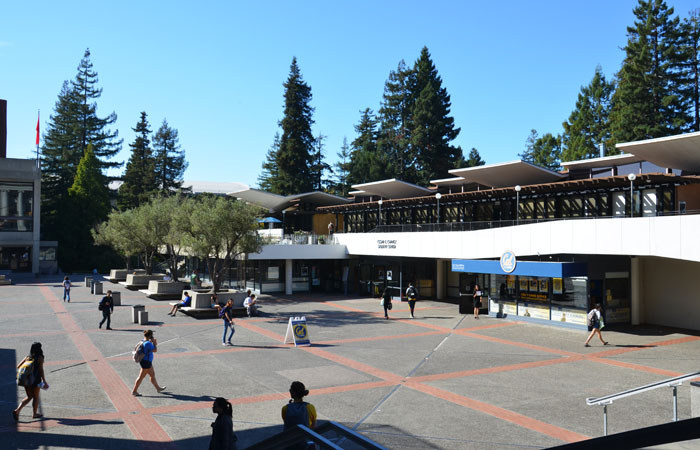 The Ceasar Chavez Student center sits on the North side of Lower Sproul Plaza.