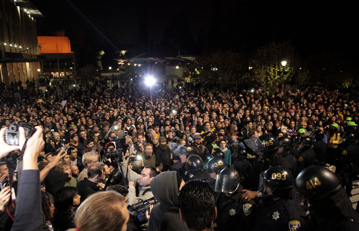 A crowd of thousands flooded into Upper Sproul Plaza on the night of November 9th. More demonstrations are planned for Tuesday, November 15th.