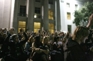 Occupy Cal protesters participate in Thursday evening's general assembly.