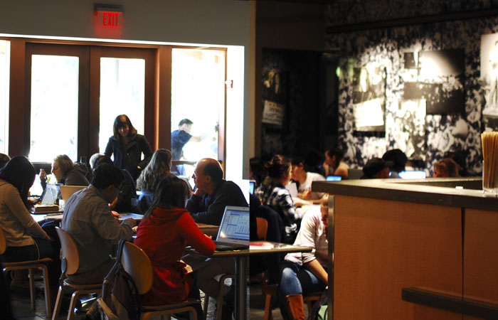 Students crowd Free Speech Movement Cafe in an attempt to search for study spots.