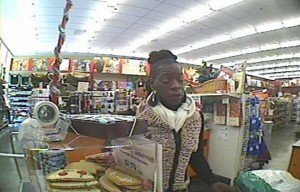 The Berkeley Police Department is looking for the woman featured in this image from video surveillance on suspicion of using stolen credit cards.
