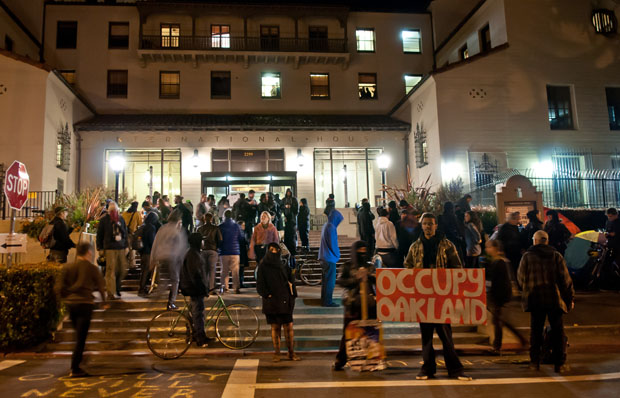 Occupy protesters gathered on the steps of International House and set up tents on the lawn.