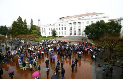 A crowd of protesters gathered for a rally on Sproul Plaza.
