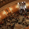 Protesters occupying the capitol building rotunda.