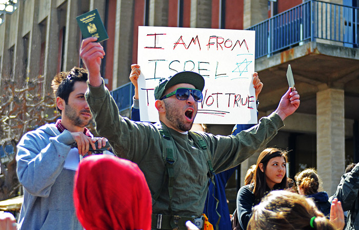 As part of Apartheid Week, Students for Justice in Palestine staged a mock checkpoint.