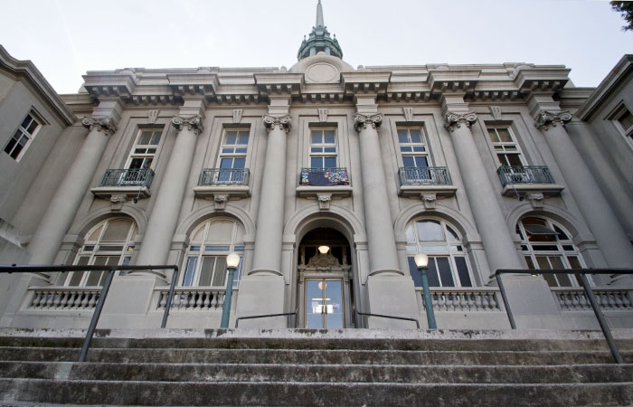 Old City Hall, home to Berkeley Unified School District's administrative offices, is seismically unfit and its future is in limbo.