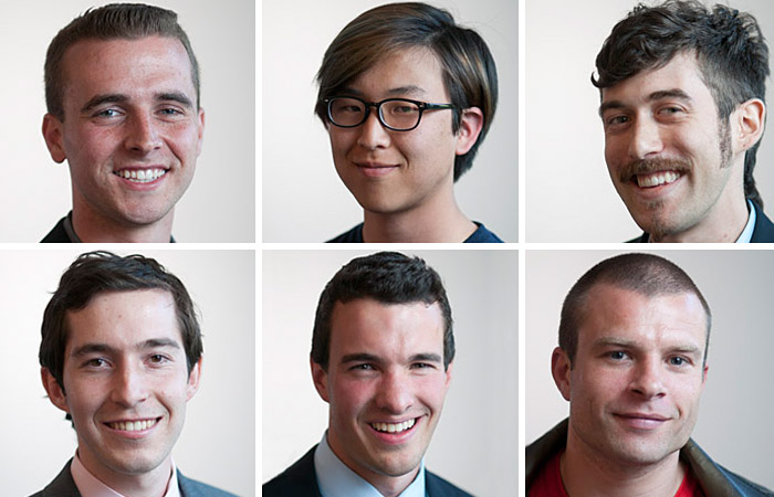 The ASUC presidential candidates, clockwise from top left, are Andrew Albright, Honest Chung, Elliot Goldstein, Matt Williams, Connor Landgraf, and Noah Ickowitz