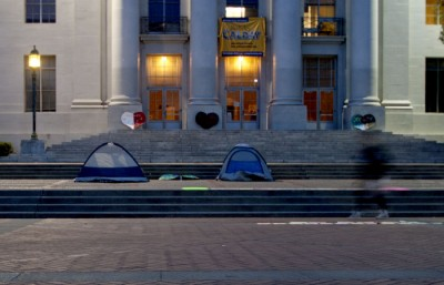 Two tents were set up by members of Occupy Cal on the steps of Sproul Hall.