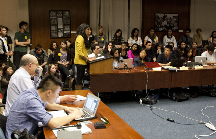 ASUC President Vishalli Loomba speaks at the senate meeting about her executive order voiding the V.O.I.C.E. initiative.