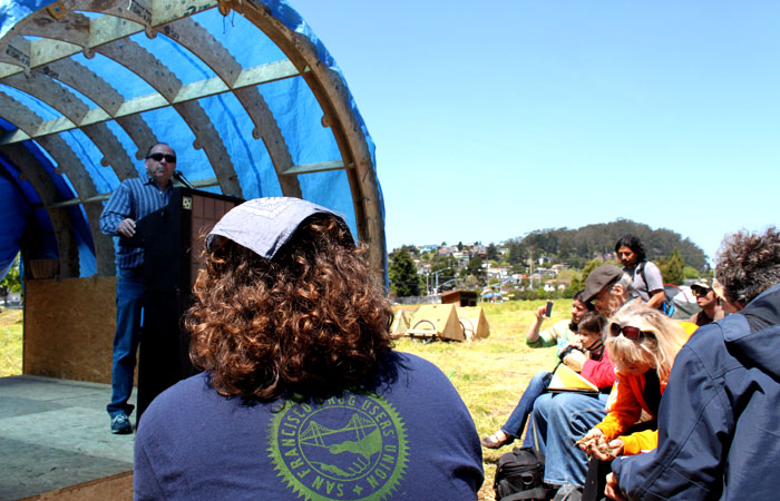 UC Berkeley Professor of Agroecology Miguel Altieri speaks during teach-outs at the occupy the farm encampment in Albany on Saturday, April 28, 2012.