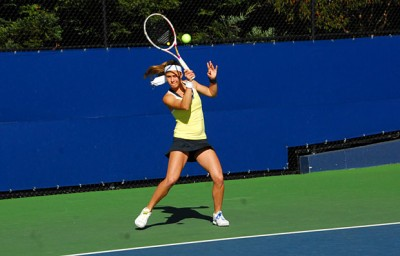 No. 12 Zsofi Susanyi defeated McCall Jones of UCLA, 6-0, 7-6(9), on Friday.
