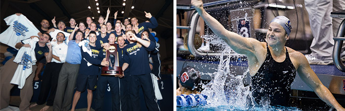 Tom Shields of the NCAA champion Cal mens swim team (left) was named Pac-12 Swimmer of the Year, as was Caitlin Leverenz (left), who led the womens team to an NCAA title as well.